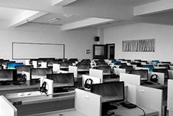 Call centre desks and phones